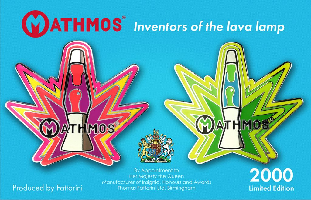 Mathmos limited edition lava lamp pin badges