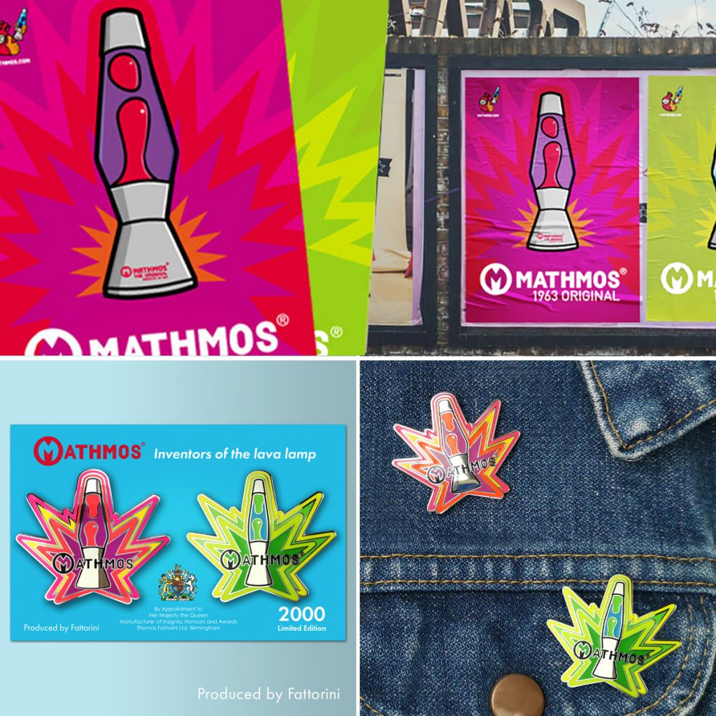 Mathmos retro lava lamp pin badges