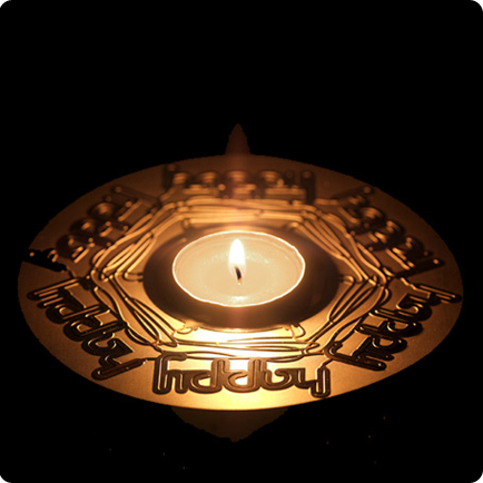 Mathmos candle card lit