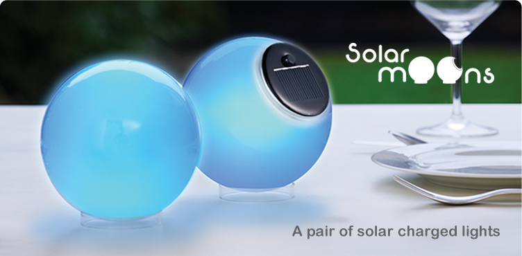 Solar Moons - A Pair of solar powered glass lights